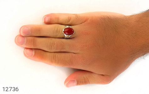 انگشتر عقیق قرمز بیضی چهارچنگ مردانه - عکس 7
