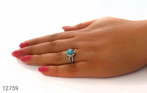 انگشتر فیروزه نیشابور زیبا طرح فرخنده زنانه - عکس 7