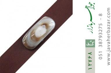دستبند چرم و عقیق باباقوری خوش نقش - کد 12768