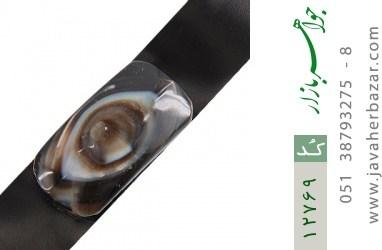 دستبند چرم و عقیق باباقوری جذاب - کد 12769