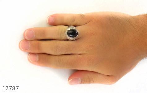 انگشتر عقیق سیاه رکاب شبکه دورچنگ مردانه - عکس 7