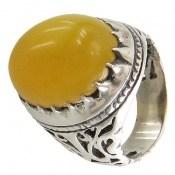 انگشتر عقیق زرد شرف الشمس درشت طرح شبکه فاخر مردانه