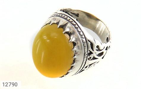 انگشتر عقیق زرد شرف الشمس درشت طرح شبکه فاخر مردانه - عکس 1