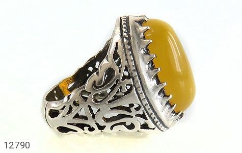 انگشتر عقیق زرد شرف الشمس درشت طرح شبکه فاخر مردانه - عکس 3