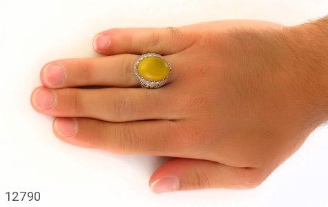 انگشتر عقیق زرد درشت طرح شبکه فاخر مردانه - عکس 7
