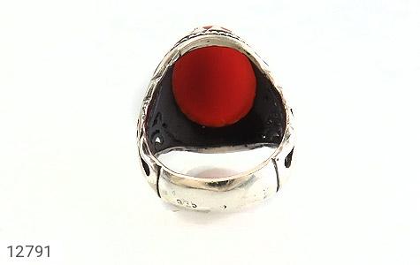 انگشتر عقیق سرخ درشت طرح شبکه فاخر مردانه - تصویر 4