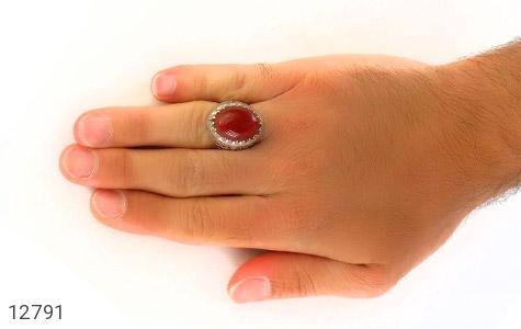 انگشتر عقیق سرخ درشت طرح شبکه فاخر مردانه - عکس 7