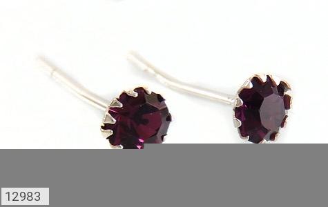گوشواره نقره گل گوش بنفش زنانه - عکس 3