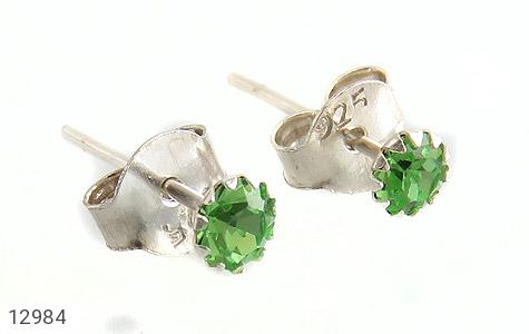 گوشواره نقره گل گوش سبز زنانه - عکس 1