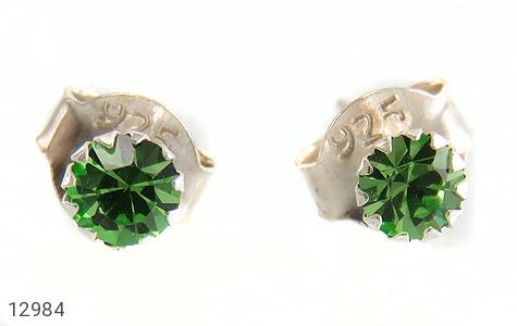 گوشواره نقره گل گوش سبز زنانه - تصویر 2