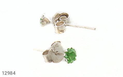 گوشواره نقره گل گوش سبز زنانه - عکس 3