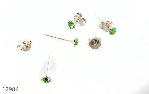 گوشواره نقره گل گوش سبز زنانه - تصویر 4