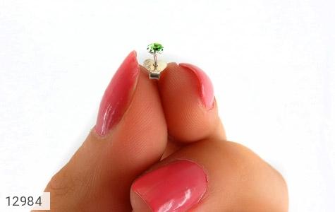 گوشواره نقره گل گوش سبز زنانه - عکس 7