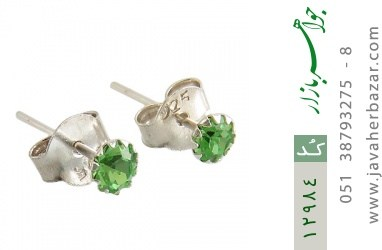 گوشواره نقره گل گوش سبز زنانه - کد 12984