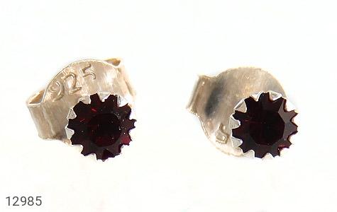 گوشواره نقره گل گوش قرمز زنانه - تصویر 2
