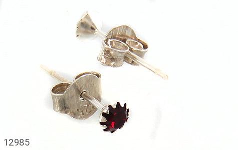 گوشواره نقره گل گوش قرمز زنانه - عکس 3