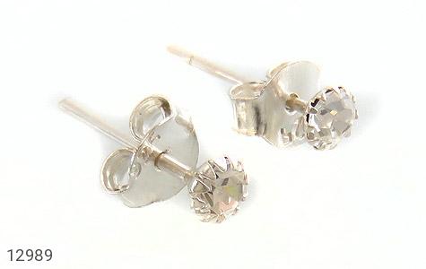 گوشواره نقره گل گوش الماس نشان زنانه - عکس 1
