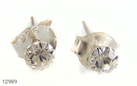 گوشواره نقره گل گوش الماس نشان زنانه - تصویر 2