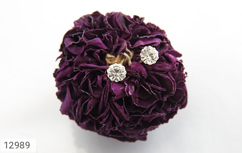 گوشواره نقره گل گوش الماس نشان زنانه - عکس 5