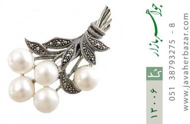 گل سینه نقره و مروارید و مارکازیت طرح عروس زنانه - کد 13006