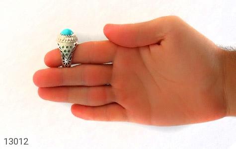 انگشتر زمرد و فیروزه نیشابوری لوکس هنر دست استاد شاکری - عکس 9