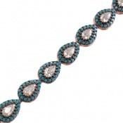 دستبند نقره نانویی طرح اشکی زنانه