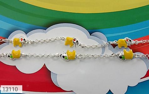 دستبند نقره میناکاری طرح فیل بچه گانه - عکس 3