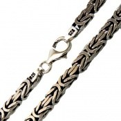 زنجیر نقره درشت طرح ماری متوسط 65 سانتی