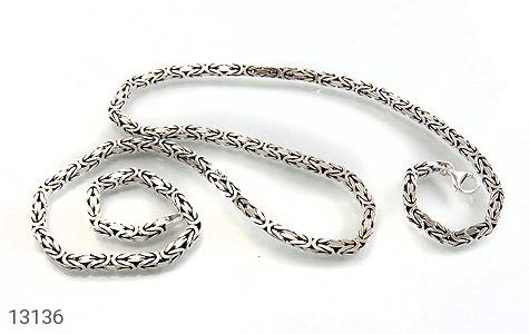 زنجیر نقره درشت طرح ماری متوسط 60 سانتی - تصویر 2
