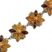 دستبند کهربا لهستان درجه یک طرح گل فاخر زنانه
