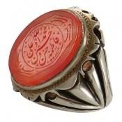 انگشتر عقیق قرمز درشت حکاکی فاخر پنج تن مردانه