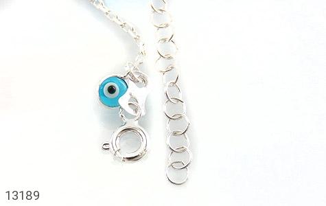 دستبند نقره طرح چشم زخم آویز بچه گانه - تصویر 2