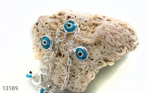 دستبند نقره طرح چشم زخم آویز بچه گانه - عکس 3