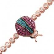 دستبند نقره فانتزی طرح کفشدوزک زنانه