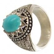 انگشتر الماس و فیروزه نیشابوری ارزشمند و فاخر مردانه