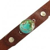 دستبند چرم و نقره و فیروزه نیشابوری خوش نقش