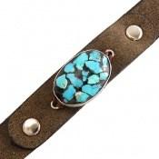 دستبند چرم و نقره و فیروزه نیشابوری ترکیبی زیبا