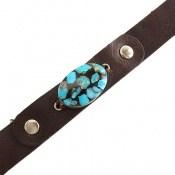 دستبند چرم و نقره و فیروزه نیشابوری ترکیبی جذاب