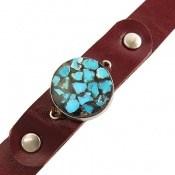 دستبند چرم و نقره و فیروزه ترکیبی نیشابوری طرح گرد