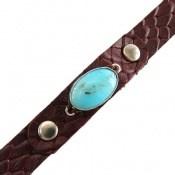 دستبند چرم و نقره و فیروزه نیشابوری خوش رنگ و زیبا