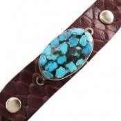 دستبند چرم و نقره و فیروزه ترکیبی نیشابوری بیضی