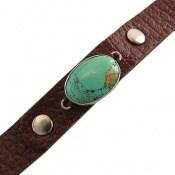 دستبند چرم و نقره و فیروزه نیشابوری زیبا