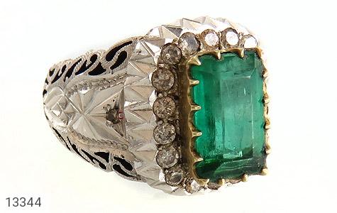 انگشتر الماس و زمرد پنجشیر افغانستان لوکس هنر دست استاد رحمانی - عکس 3