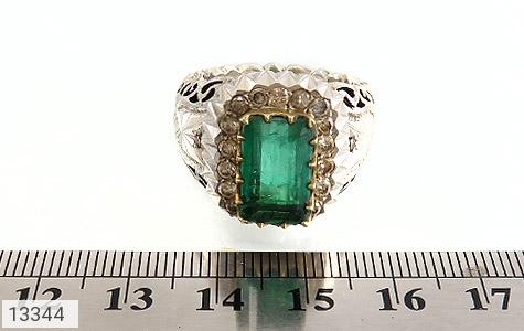 انگشتر الماس و زمرد پنجشیر افغانستان لوکس هنر دست استاد رحمانی - عکس 7
