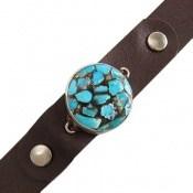 دستبند چرم و نقره و فیروزه ترکیبی نیشابوری گرد