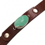 دستبند چرم و نقره و فیروزه نیشابوری ارزشمند