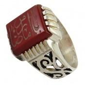 انگشتر عقیق قرمز حکاکی یا امام رضا مردانه