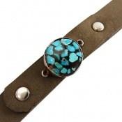 دستبند چرم و نقره و فیروزه ترکیبی نیشابور جذاب