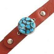 دستبند چرم و نقره و فیروزه ترکیبی نیشابوری خوش رنگ