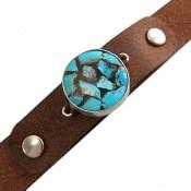 دستبند چرم و نقره و فیروزه ترکیبی نیشابور زیبا